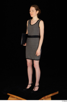 Violet black high heels clothing dressed grey dress standing whole body 0010.jpg