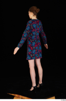 Violet black high heels casual clothing dressed flower dress standing whole body 0004.jpg