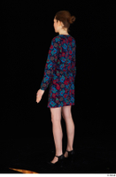 Violet black high heels casual clothing dressed flower dress standing whole body 0012.jpg