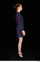 Violet black high heels casual clothing dressed flower dress standing whole body 0015.jpg