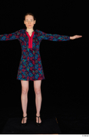 Violet black high heels casual clothing dressed flower dress standing t-pose whole body 0001.jpg