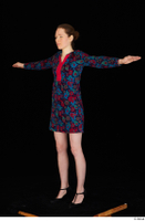 Violet black high heels casual clothing dressed flower dress standing t-pose whole body 0002.jpg