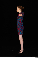 Violet black high heels casual clothing dressed flower dress standing t-pose whole body 0003.jpg