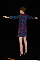 Violet black high heels casual clothing dressed flower dress standing t-pose whole body 0004.jpg