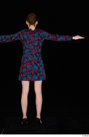 Violet black high heels casual clothing dressed flower dress standing t-pose whole body 0005.jpg