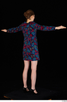 Violet black high heels casual clothing dressed flower dress standing t-pose whole body 0006.jpg