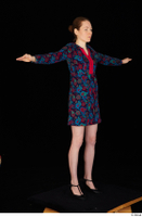 Violet black high heels casual clothing dressed flower dress standing t-pose whole body 0008.jpg