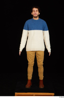Pablo brown shoes brown trousers dressed standing sweater whole body 0001.jpg