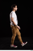 Pablo  1 brown trousers dressed red sneakers walking white t shirt whole body 0004.jpg