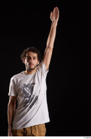 Pablo  1 arm dressed flexing front view white t shirt 0004.jpg