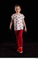 Lilly  1 dressed front view red leggings red shoes t shirt trousers walking whole body 0003.jpg
