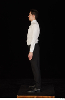 Jamie black shoes black trousers bow tie dressed standing uniform waiter uniform white shirt whole body 0003.jpg