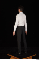 Jamie black shoes black trousers bow tie dressed standing uniform waiter uniform white shirt whole body 0004.jpg