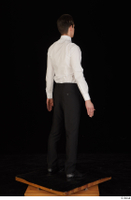 Jamie black shoes black trousers bow tie dressed standing uniform waiter uniform white shirt whole body 0006.jpg