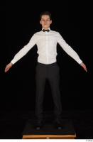 Jamie black shoes black trousers bow tie dressed standing uniform waiter uniform white shirt whole body 0009.jpg