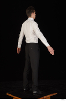 Jamie black shoes black trousers bow tie dressed standing uniform waiter uniform white shirt whole body 0014.jpg