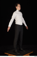 Jamie black shoes black trousers bow tie dressed standing uniform waiter uniform white shirt whole body 0016.jpg