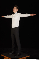Jamie black shoes black trousers bow tie dressed standing t-pose uniform waiter uniform white shirt whole body 0002.jpg