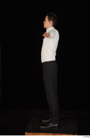 Jamie black shoes black trousers bow tie dressed standing t-pose uniform waiter uniform white shirt whole body 0003.jpg