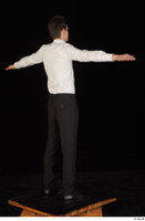 Jamie black shoes black trousers bow tie dressed standing t-pose uniform waiter uniform white shirt whole body 0006.jpg