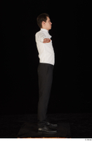 Jamie black shoes black trousers bow tie dressed standing t-pose uniform waiter uniform white shirt whole body 0007.jpg