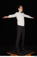 Jamie black shoes black trousers bow tie dressed standing t-pose uniform waiter uniform white shirt whole body 0008.jpg