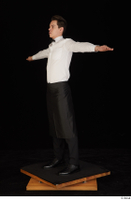 Jamie black shoes black trousers bow tie dressed standing t-pose tablier uniform waiter uniform white shirt whole body 0002.jpg