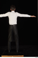 Jamie black shoes black trousers bow tie dressed standing t-pose tablier uniform waiter uniform white shirt whole body 0005.jpg