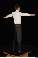 Jamie black shoes black trousers bow tie dressed standing t-pose tablier uniform waiter uniform white shirt whole body 0006.jpg