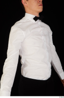 Jamie bow tie dressed uniform upper body waiter uniform white shirt 0008.jpg