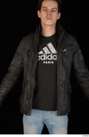 Jamie black leather jacket dressed upper body 0001.jpg