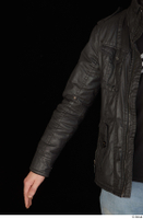 Jamie arm black leather jacket dressed upper body 0001.jpg