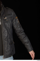 Jamie arm black leather jacket dressed upper body 0002.jpg