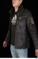 Jamie black leather jacket dressed upper body 0002.jpg