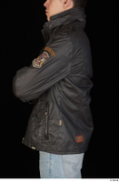 Jamie arm black leather jacket dressed upper body 0003.jpg