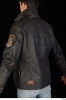 Jamie black leather jacket dressed upper body 0004.jpg