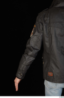 Jamie arm black leather jacket dressed upper body 0004.jpg