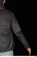 Jamie arm black leather jacket dressed upper body 0005.jpg