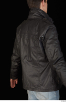 Jamie black leather jacket dressed upper body 0006.jpg