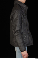 Jamie black leather jacket dressed upper body 0007.jpg