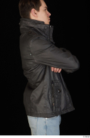 Jamie arm black leather jacket dressed upper body 0006.jpg