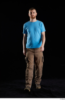 Victor  1 blue t shirt brown shoes brown trousers dressed front view walking whole body work trousers 0001.jpg