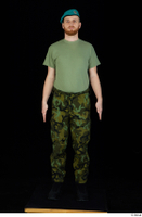 Victor army beret cap black shoes camo trousers dressed green t shirt standing whole body 0001.jpg