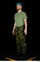 Victor army beret cap black shoes camo trousers dressed green t shirt standing whole body 0002.jpg