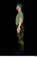 Victor army beret cap black shoes camo trousers dressed green t shirt standing whole body 0003.jpg
