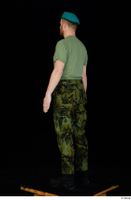 Victor army beret cap black shoes camo trousers dressed green t shirt standing whole body 0004.jpg