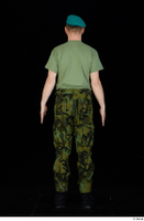 Victor army beret cap black shoes camo trousers dressed green t shirt standing whole body 0005.jpg