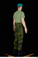 Victor army beret cap black shoes camo trousers dressed green t shirt standing whole body 0006.jpg