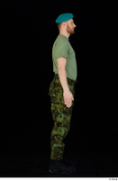 Victor army beret cap black shoes camo trousers dressed green t shirt standing whole body 0007.jpg