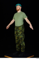 Victor army beret cap black shoes camo trousers dressed green t shirt standing whole body 0010.jpg